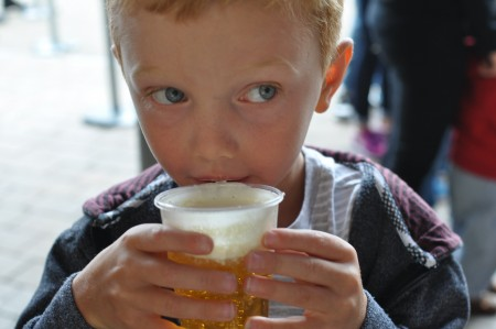 picture of my son drinking butter beer